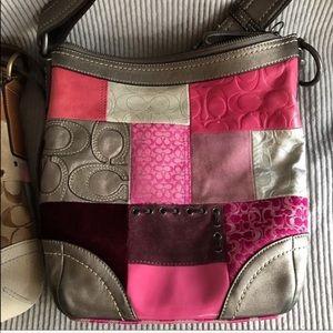 COACH patchwork bag patent suede leather purse EUC
